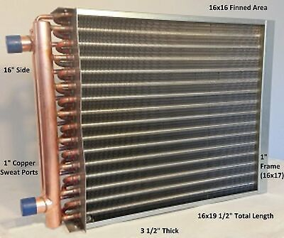 16x16 Water To Air Heat Exchanger1 Copper Ports W Ez Install Front Flange