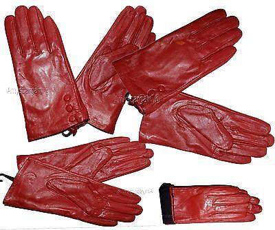 Damen Handschuhe Größe S. Rotes Leder Winter Kleid Br Neu