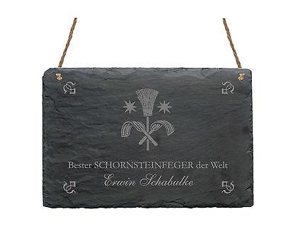 Schiefertafel  « BESTER SCHORNSTEINFEGER » Schild mit MOTIV Kaminkehrer