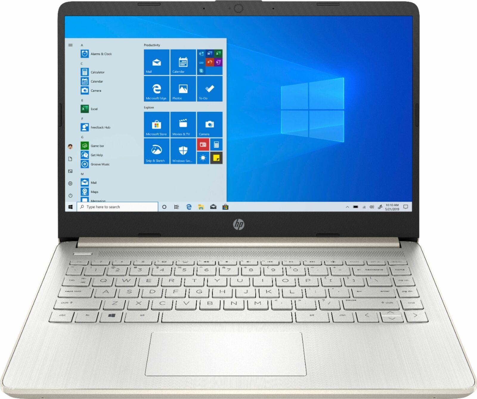 """HP - 14"""" Laptop - Intel Celeron - 4GB Memory - 64GB eMMC - Pale Gold"""