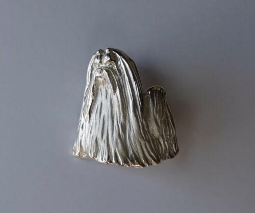 Large Sterling Silver Maltese Standing Study Brooch