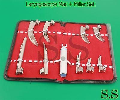 Laryngoscope Mac Miller Set 9 Blades And 1 Handle Emt Anesthesia Intubation