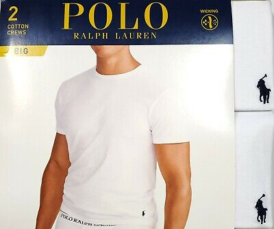 Polo Ralph Lauren Big & Tall Men's White Crew-Neck Wicking T-Shirt 2 Pack Big And Tall White T-shirt