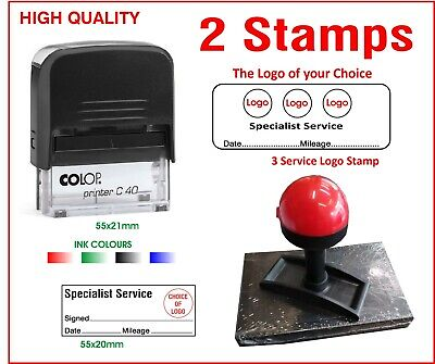 Colop Self Inking Rubber Stamp Motorcycle 3 Logo -2 Stamps Lot Garage Specialist