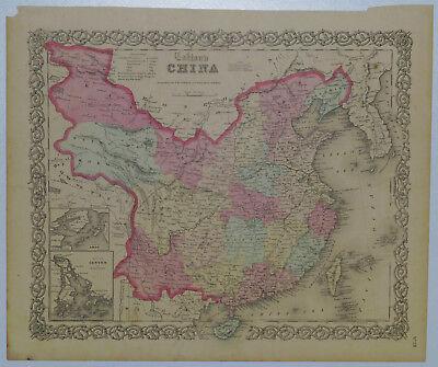 1855 Genuine Antique map of China, Formosa, Corea, Canton. Hand colored. Colton