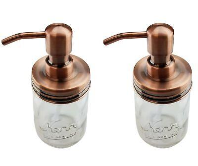 2 Copper Mason Jar Soap Dispenser Lids  Rust Proof JARS NOT INCLUDED
