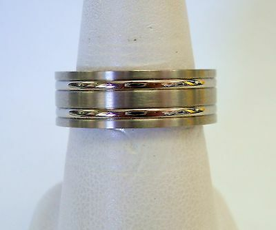 8 mm Titanium Benchmark Wedding Band Ring Silver Mens Size 10 Benchmark Titanium Wedding Ring