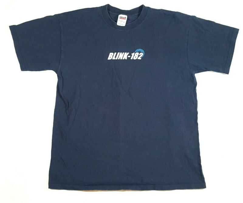 Vintage 1999 Blink 182 Shirt Punk Double Sided Graphic Blue T Shirt Size L Anvil