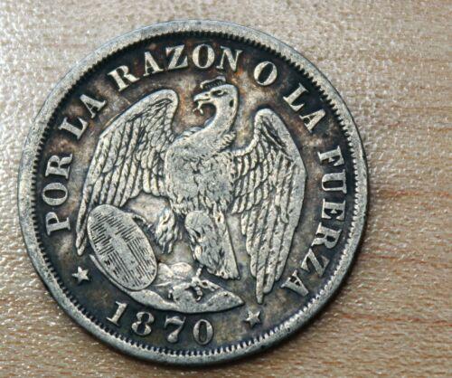1870 Chile 20 Centavos Silver