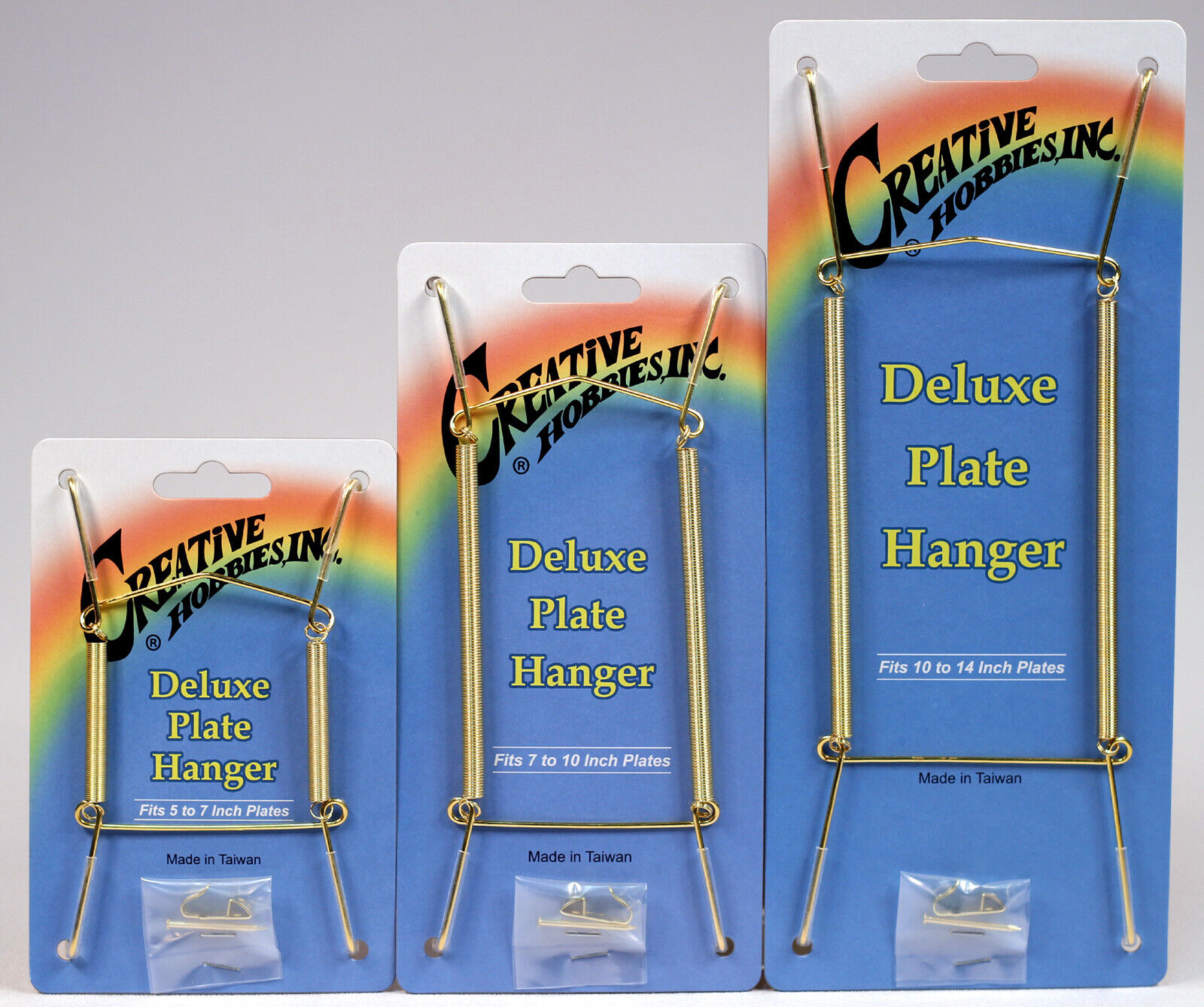 Gold Plate Display Hangers, Spring Type,Hold 5 to 14 Inch Plates -Pack of 3 Crafts