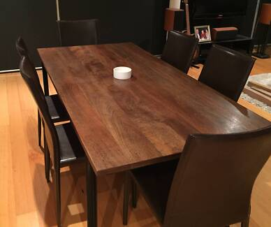Solid Wood Industrial Style Dining Table Cammeray North Sydney Area Preview