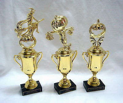 3 TRUNK OR TREAT HALLOWEEN TROPHIES WITCH PUMPKIN AND SCARECROW TROPHY