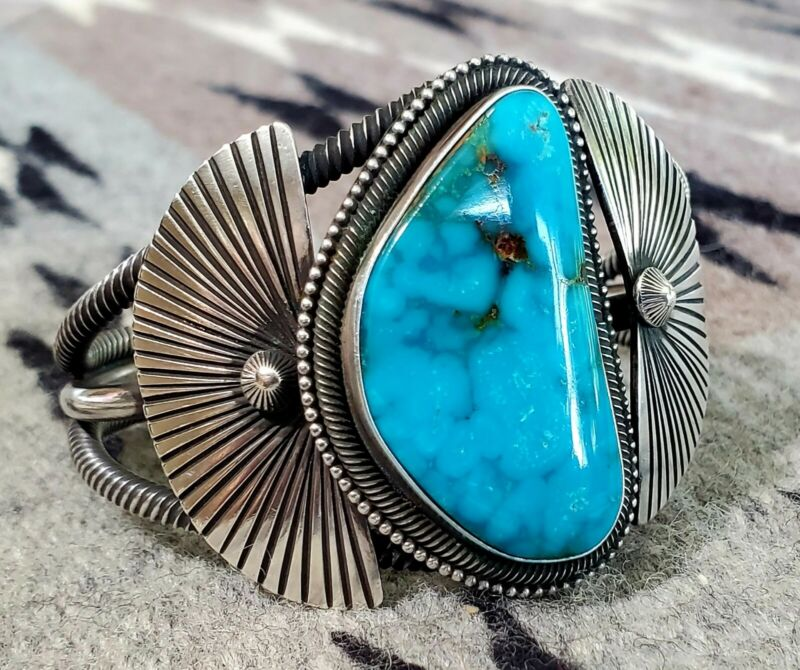 Nelvin Burbank Navajo Turquoise Heavy Wide Silver Cuff Bracelet Georgous Stone