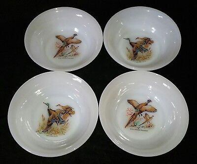 """(4) VTG FIRE KING GAME BIRDS 4-7/8"""" LOW BERRY DESSERT BOWLS WHITE GLASS READ AD"""