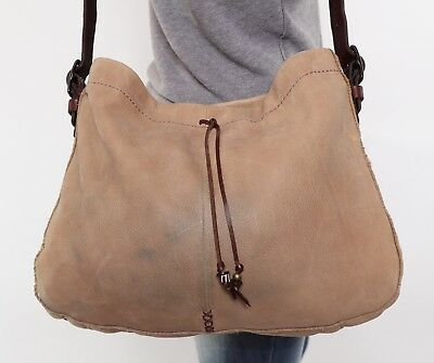 LUCKY BRAND Lrg Tan Suede Brown Leather Shoulder Hobo Tote Cross Body Purse Bag Suede Cross Shoulder Tote
