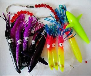 2 Sets DAISY CHAIN BAIT RIG BULB SQUID & BIRD TUNA MARLIN TROLLING LURES