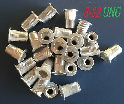 Qty. 25 Aluminum Rivet Nut Rivnut Insert Nutsert 8-32 Unc Nuts