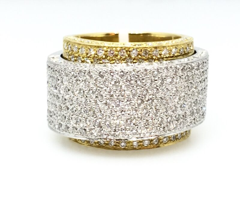 Double Diamond Pave Wide Band Ring in 18k White & Yellow Gold - HM1491