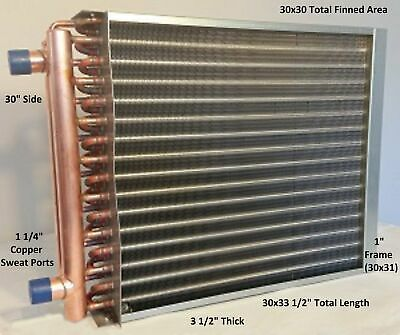30x30 Water To Air Heat Exchangerw1-14copper Ports W Ez Install Front Flan