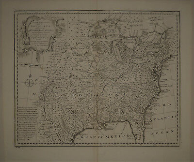 1747 Genuine Antique map North America. Louisiana. Florida. by E. Bowen