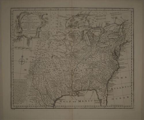 1747 Genuine Antique map North America. Louisiana. Florida. by E. Bowen