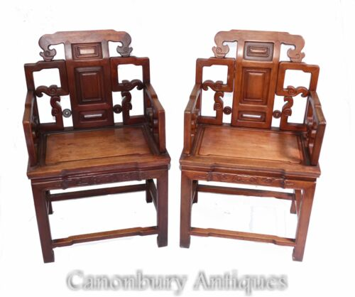 Pair Antique Chinese Arm Chairs - Hardwood Seats Interiors