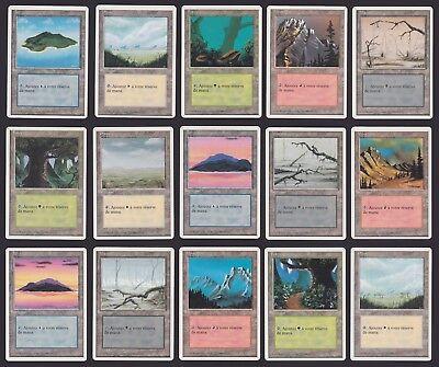 Vintage MAGIC 1995 Lot de 15 cartes 4éme Edit Français TERRAINS - TTB.......S148