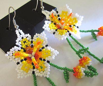 "Huichol Beaded Earrings Mexican Handmade Folk Art Peyote Jewelry 3.75"" Long"