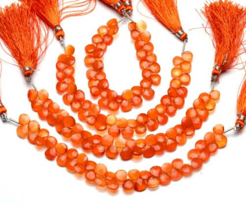"""Natural Gem Carnelian Loose Beads for Jewelry Making 7MM Heart Briolettes 6.5"""""""