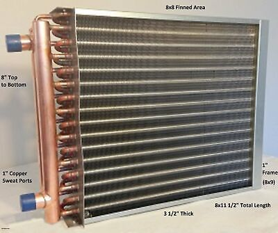 "8X8 Water to Air Heat Exchanger~~1"" Copper ports w/ EZ Install Front Flange"