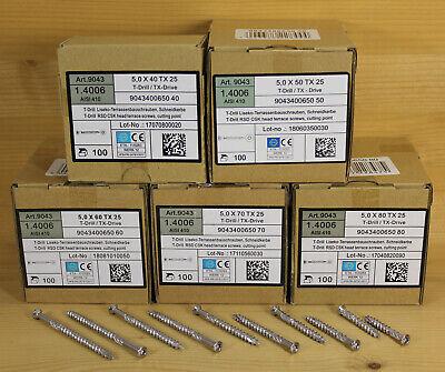 5 x 40/50/60/70/80 mm Edelstahl C1 Terrassenschrauben gehärtet 100 -1000 Stück