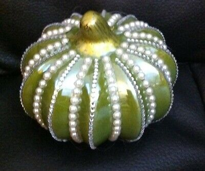 BEAUTIFUL CERAMIC HAND DECORATED GREEN PUMPKIN FIGURINE/FALL DECOR - ALTERED ART