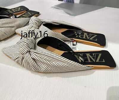ZARA NEW WOMAN FLAT STRIPED MULES WITH KNOT SLIP-ON SHOES 35-42 2516/510