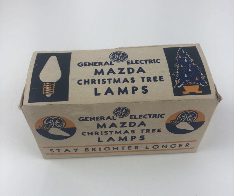 Vintage in box 7 GE CHRISTMAS TREE Lamps Light Bulbs C-6 MAZDA type
