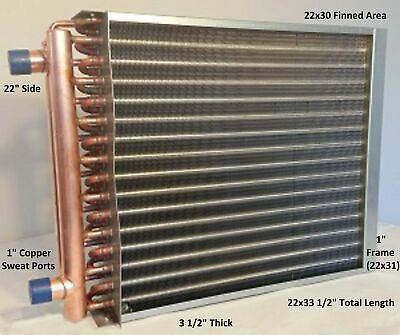 22x30 Water To Air Heat Exchanger1 Copper Ports W Ez Install Front Flange