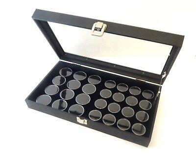 Glass Top 28 Gem Black 2 Sizes Jars Display Organizer Storage Case Lid Support