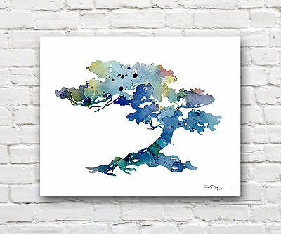 Bonsai Tree Abstract Watercolor Painting Art Print by Artist DJ Rogers