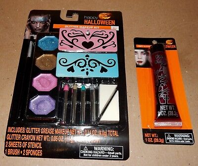 Halloween Glitter Makeup Kit With Stencils & Fake Blood Tube 1oz 173R