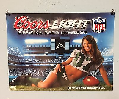 COORS LIGHT BEER POSTER NFL FOOTBALL GIRL GREEN JERSEY