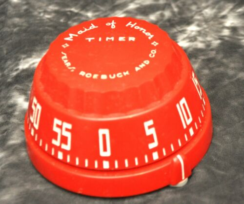 1950s Red Sears Roebuck Maid of Honor 60 Min. Kitchen Timer Mid Mod Art Deco