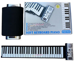 Portable Flexible Roll Up Electronic Piano 61 Keys Soft Keyboard MIDI AC Adapter