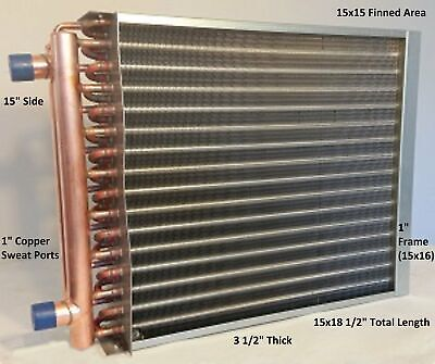 15x15 Water To Air Heat Exchanger1 Copper Ports W Ez Install Front Flange