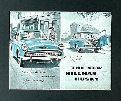 Vintage 1950s Hillman Husky Sales Brochure Poster Specifications Engine Artwork