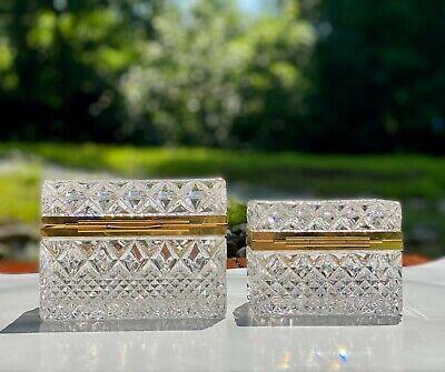 2 Vintage Pressed Glass Caskets Trinket Boxes Jewelry Vanity