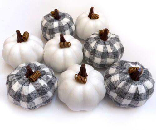 SET 7 GRAY BUFFALO PLAID PUMPKINS | Fall Tabletop Decor Vase Filler Farmhouse