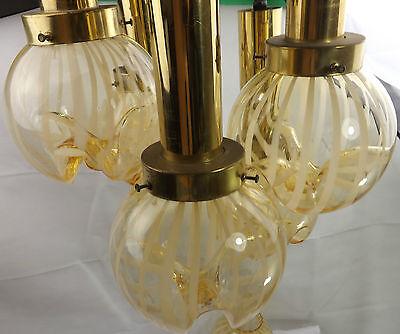 DAR 5 Ornament Light - Art Deco Bright Brass Rose & Amber Tulip Shades Art Glass