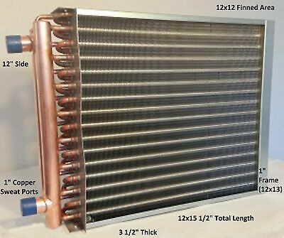 12x12 Water To Air Heat Exchanger1 Copper Ports W Ez Install Front Flange