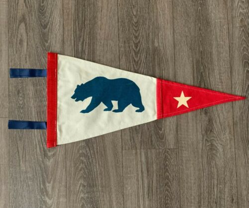 "New California Bear Pennant, Canvas, Flag, Banner, Wall Decor 10"" x 20.5"" Beige"