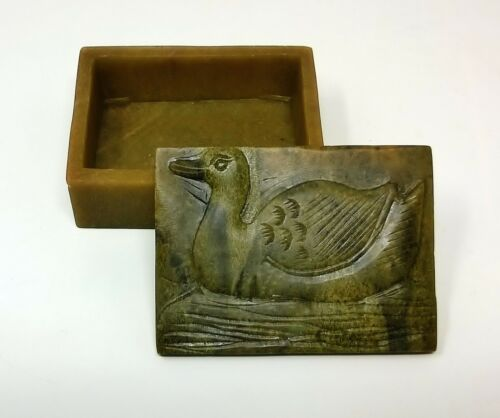 Old Green Soapstone Snuff Trinket Pill Duck Box, Hand-Carved Asian Box
