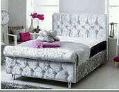Sleigh bed frame in silver velvet